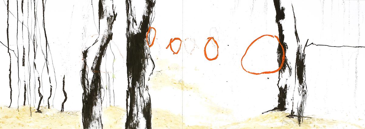Silva I, 2012, Ölstick auf Papier, 126 x 44 cm