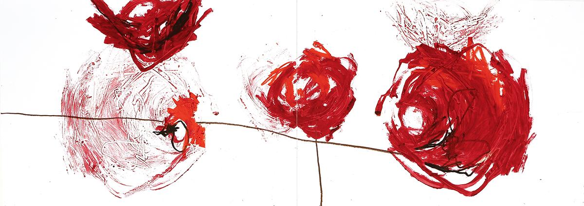 Silva II, 2012, Ölstick auf Papier, 126 x 44 cm