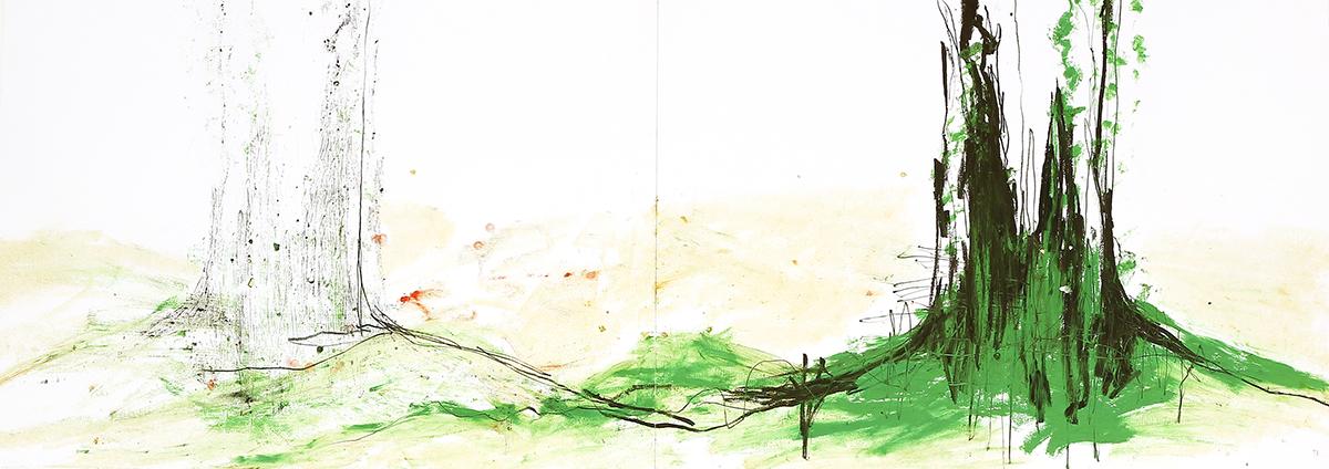 Silva III, 2012, Ölstick auf Papier, 126 x 44 cm