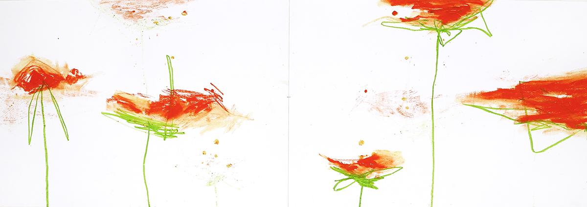 Silva IV, 2012, Ölstick auf Papier, 126 x 44 cm