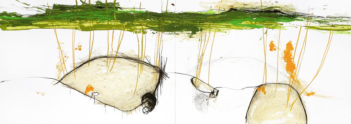 Silva VI, 2012, Ölstick auf Papier, 126 x 44 cm