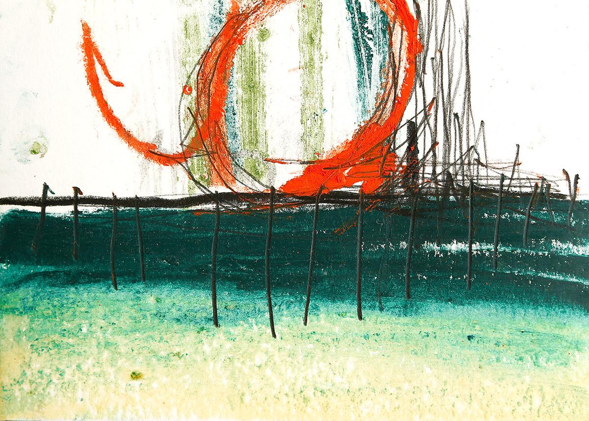 Sonata III, 2015, Ölstick auf Papier, 21 x 14,8 cm