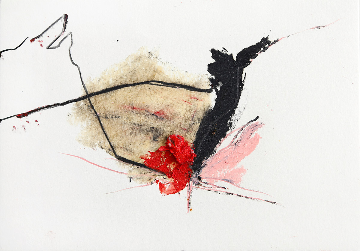 Aberrationen XI, 2012-2014, Ölstick auf Papier, 21 x 14,8 cm