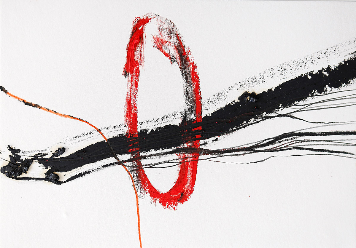 Aberrationen XII, 2012-2014, Ölstick auf Papier, 21 x 14,8 cm