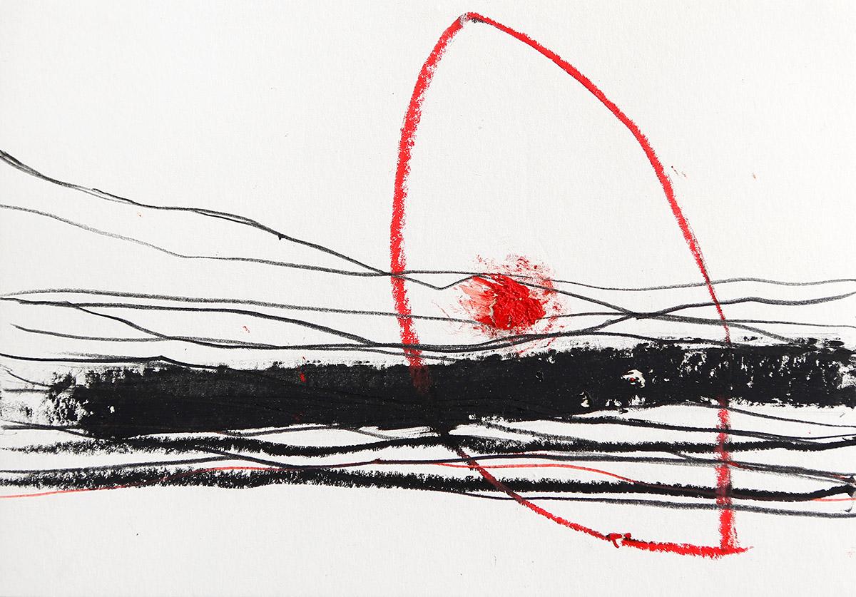 Aberrationen XIII, 2012-2014, Ölstick auf Papier, 21 x 14,8 cm