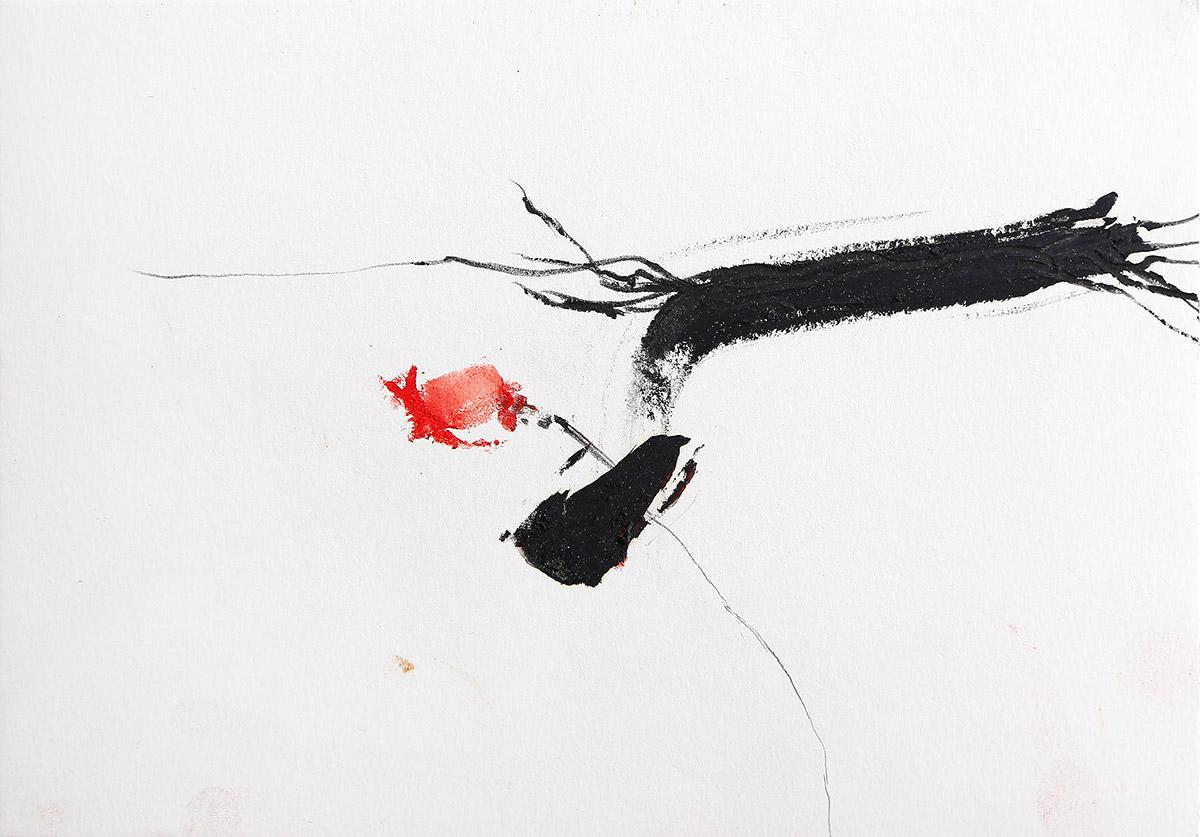 Aberrationen XV, 2012-2014, Ölstick auf Papier, 21 x 14,8 cm