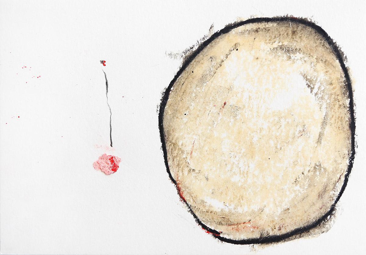 Aberrationen XVII, 2012-2014, Ölstick auf Papier, 21 x 14,8 cm