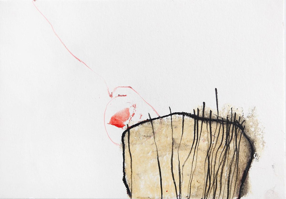Aberrationen XVIII, 2012-2014, Ölstick auf Papier, 21 x 14,8 cm