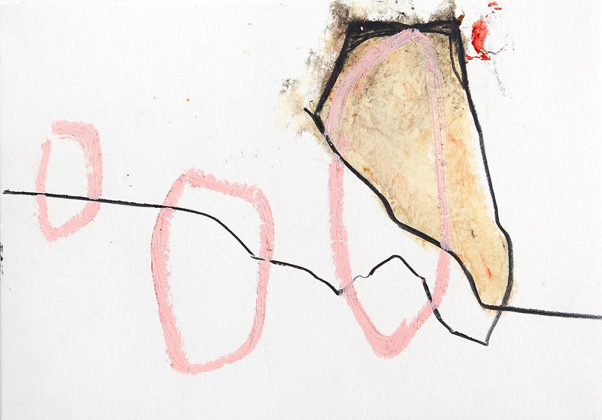 Aberrationen IV, 2012-2014, Ölstick auf Papier, 21 x 14,8 cm