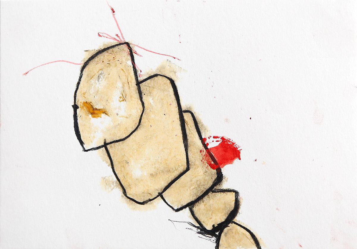 Aberrationen XIV, 2012-2014, Ölstick auf Papier, 21 x 14,8 cm