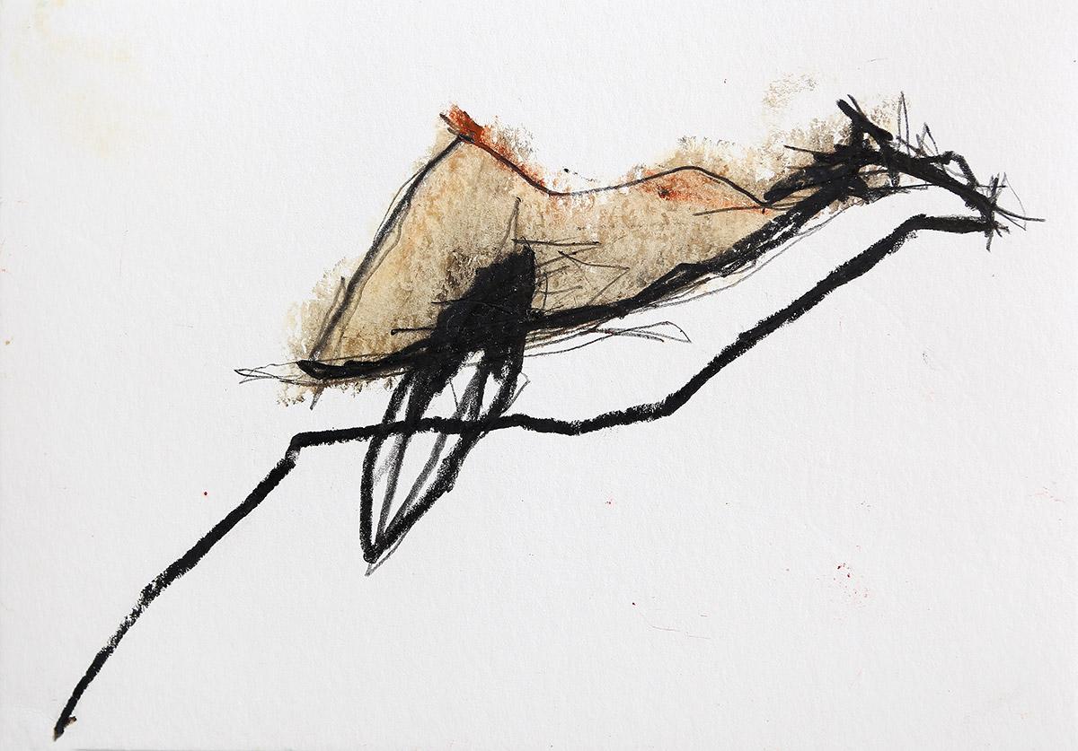 Aberrationen IX, 2012-2014, Ölstick auf Papier, 21 x 14,8 cm