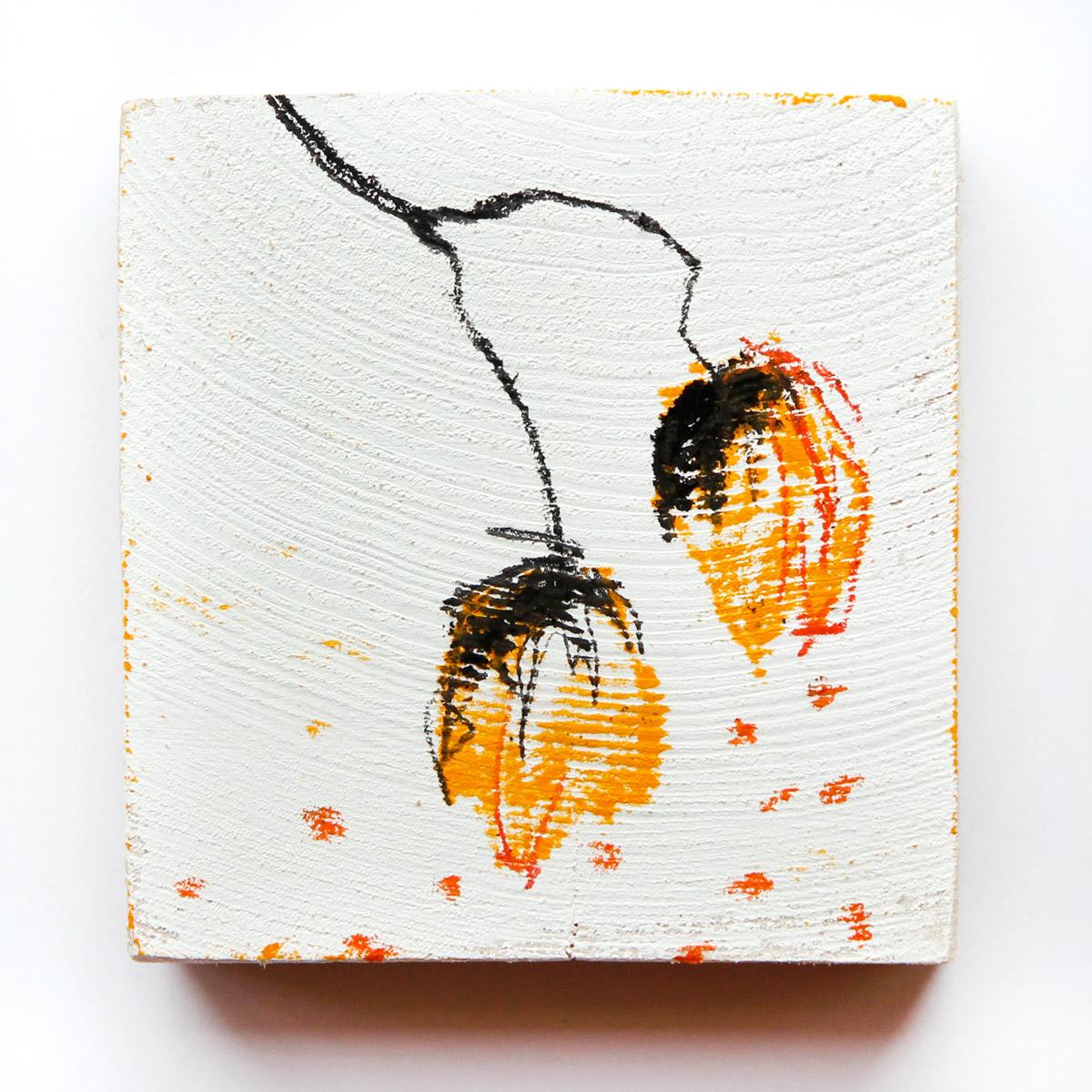 Mannigfaltig, 2020, Ölstick auf Holz, 9,5 cm x 10cm