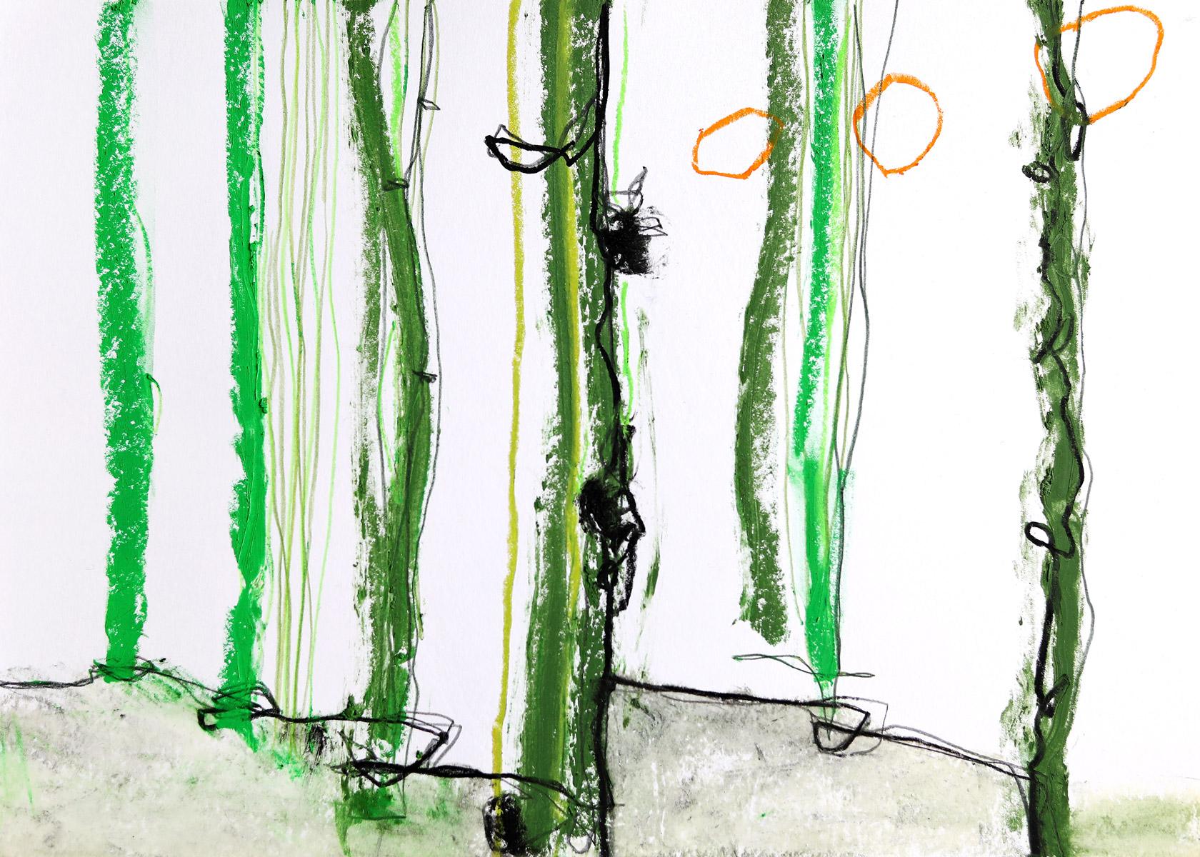 singula, 2018, Ölstick auf Papier, 42cm x 29,7cm